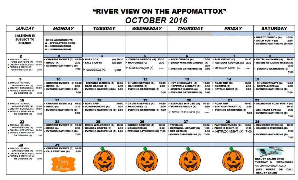 River View Health  Rehab Center  Activity Calendar  October