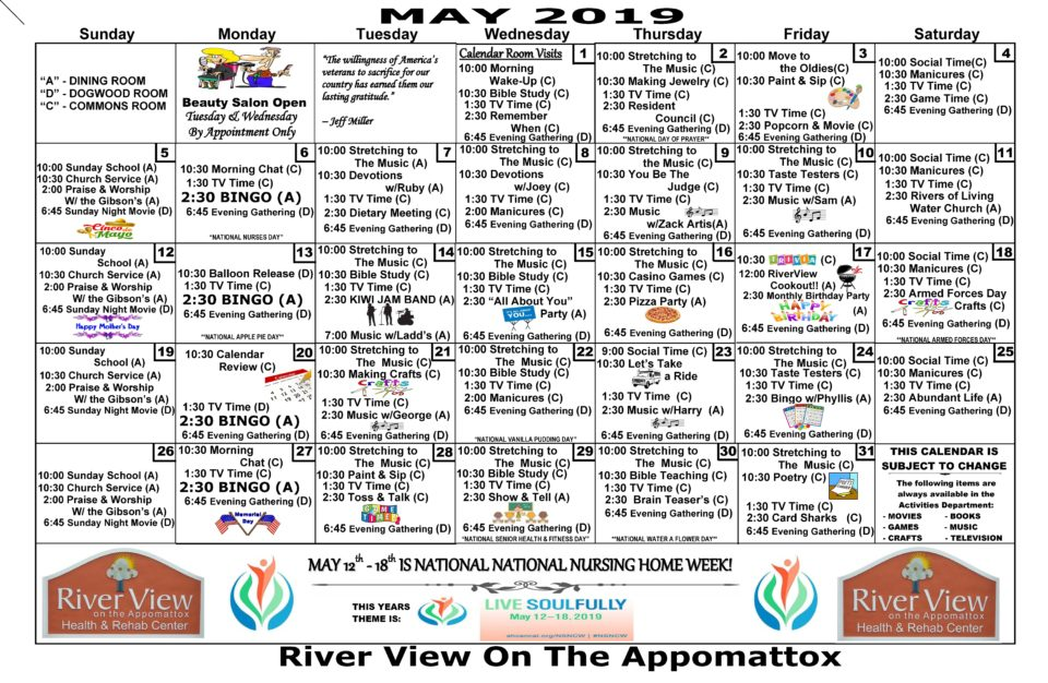May 2019 Activities Calendar - River View Health & Rehab